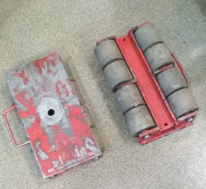 Transport rollers for industrial equipment shipping.