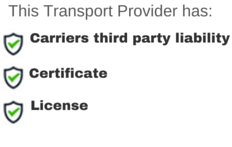 Transport provider's insurance policies, licences and certificates