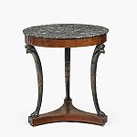 Delivery Antique gueridon tripod table with round marble top