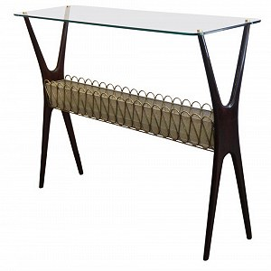 Delivery One console table with glass top
