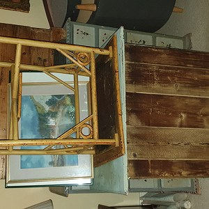 Delivery 2 chest of drawers,  1 pine chest, 1 small table, 1 mirror, 1 Grandfather clock, 2 boxes 10 pictures