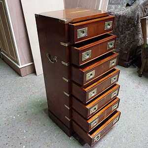 Delivery MILITARY/CAMPAIGN YEW WOOD REPRODUCTION CHEST OF DRAWERS