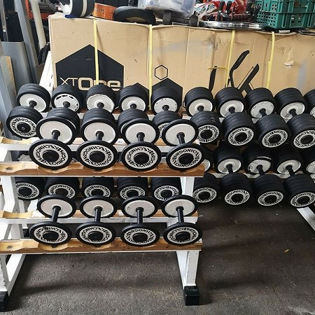 Pick up (and load) about 24 pairs of dumbbells (total weight around 1100 kg), plus racks